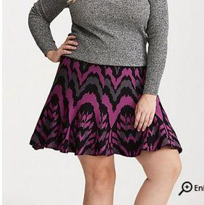 Torrid Purple and Black Skater Knit Skirt New